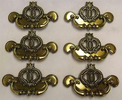 "LOT of 6 Drawer Pulls Chippendale Charleston Pineapple Brass 3"" Centers"