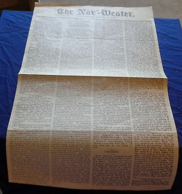 BR1678 Vtg 1865 Red River Manitoba Nor'-Wester 2 Page Newspaper Reprint Article