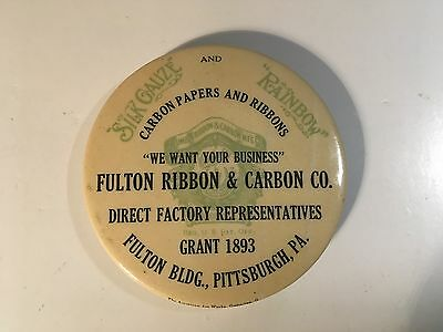Fulton Ribbon & Carbon Co., Pittsburgh, PA celluloid adv paperweight mirror