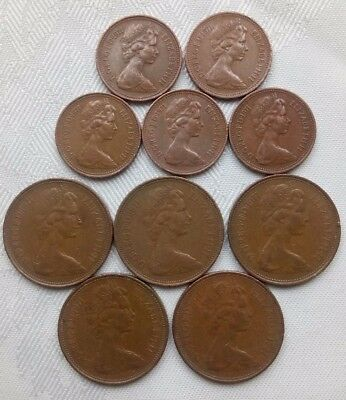 One New Penny.2 New Pence Coins 1971 Pairs,elizabeth Ii,2Nd Bust.united Kingdom