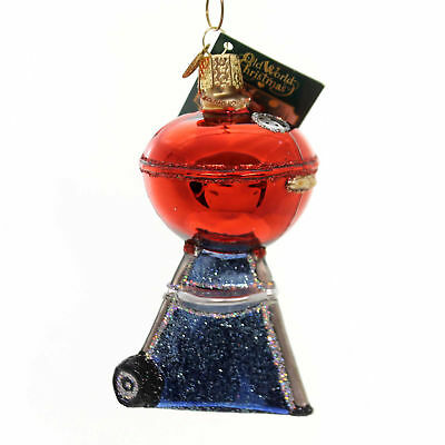 Old World Christmas CLASSIC BBQ Glass Ornament Grill Coals 32189 Red
