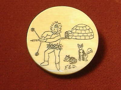 Antique Carved Scrimshaw Eskimo with Bolas-Igloo-Dogs Pin Brooch signed F.E.D.