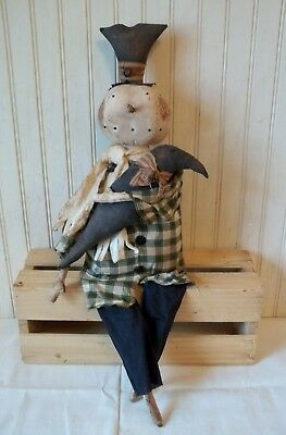 Primitive Grungy Snowman Christmas Doll & His Crow