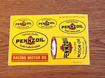 Vintage 1960's 1970's Pennzoil Supreme Performance Racing Motor Oil Stickers