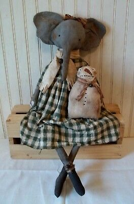 Primitive Grungy Ellie the Elephant Christmas Doll & Her Snowman