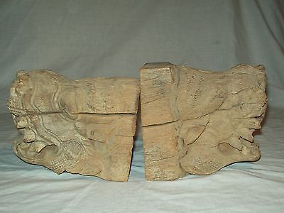 2 early carved wooden Chinese  gargole/ Dragon corbels