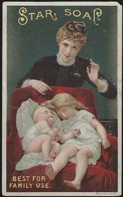 Victorian Trade Card for Schultz's Star Soap with Hush Picture Mother and Babies
