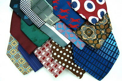 45 VINTAGE WIDE Poly 60S 70S Wear Quilt  Crat Church NECKTIE Neck TIE Ties LOT