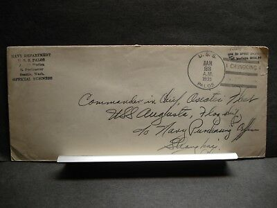 1935 USS PALOS PG-16 Official Naval Cover ASIATIC STATION, CHUNGKING, CHINA