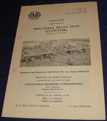 BR838 Vtg 1962 Roll-O-Flex Heavy Duty Cultivator Consolidated Test Report