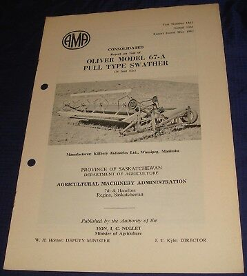 BR841 Vtg 1962 Oliver Mod 67A Pull Type Swather Consolidated Test Report