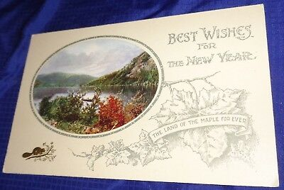 RP1677 Vtg Happy New Year PostCard The Land Of The Maple Forever