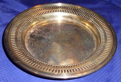 RP1596 Vtg Haddon Silver Plated Wine Bottle Coaster Trinket Tray Dish