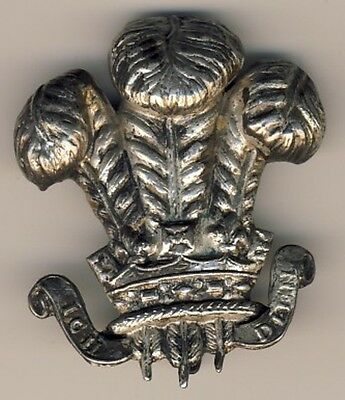 Prince Wales Own PWO Bonnet Cap Badge Silvered Victorian Officers Pre 1900 Nice