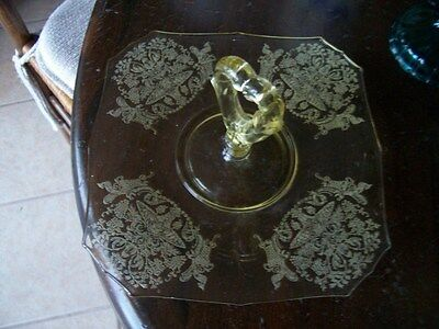 Paden City Gothic Garden yellow center handle serving tray