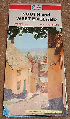 RP1617 Vtg Esso Imperial Oil South & West England Road Map 1967