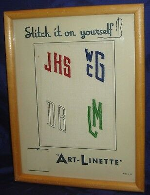 BR780 Vtg 1941 Counter Display Art-Linette Monograms Stitch It On Yourself