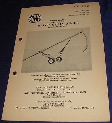 BR844 Vtg 1962 Malco Grain Auger Consolidated Test Report