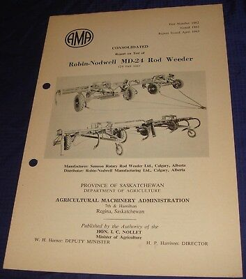 BR846 Vtg 1962 Robin-Nodwell MD-24 Rod Weeder Consolidated Test Report