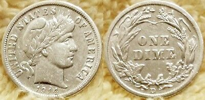 One 90% Silver 1914-D Barber Dime