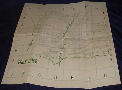 BR643 Vtg Port Hope ON 1977 Town Map Churches Industries Public Buildings