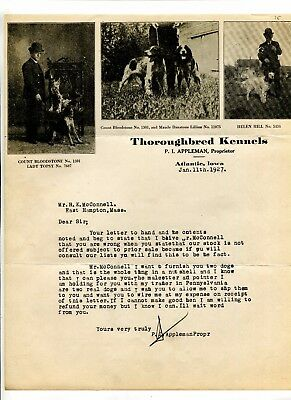 Illustrated Letterhead THOROUGHBRED KENNELS PI APPLEMAN Atlantic IA 1927 DOGS