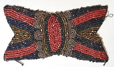 """Antique 4 3/4"""" Victorian Bow Shaped Beaded Patterned Needlework Appliqué"""