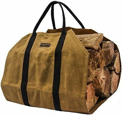 Waxed Canvas Firewood Log Carrier by Readywares Heavy Duty Water Resistant 20oz