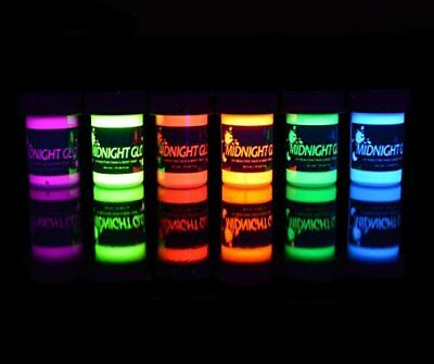 Washable Non Toxic Reactive Neon Fluorescent Face and Body Paint Kit - 6 Bottles