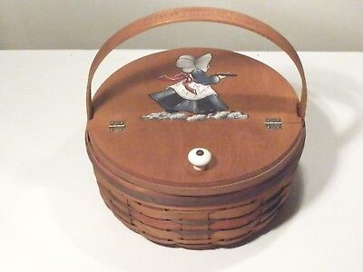 Longaberger 1992 Crisco Cookie Basket W Artist Signed Painted Hinged Divided Lid
