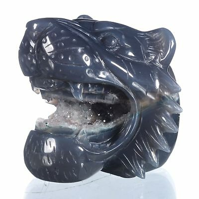 "3.46""Natural Geode Agate Tiger Head Carving ,Collectibles#AT78"