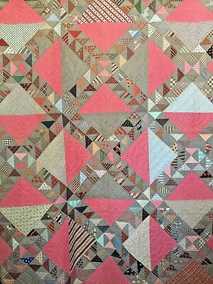 Antique Hand Sewn Indian Plumes Variation Quilt - Late 19th Century