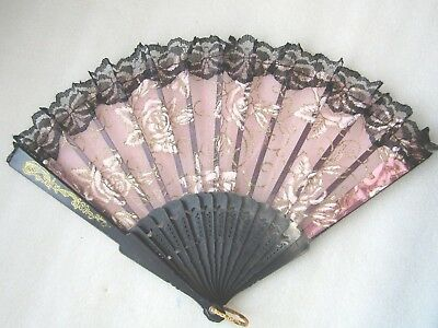 """Ladies Hand Fan  Decorative """" Pink Roses """"   Perfect"""