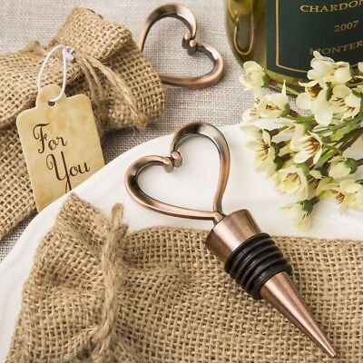 50 Antique Copper Plated Finish Vintage Heart Metal Stopper Wedding Gift Favors