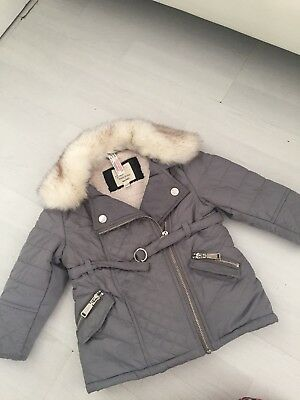 Stunning Little Girls River Island Parka Coat Jacket Age 12-18mths