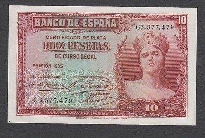 10 Pesetas From Spain 1935 A5 Unc