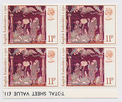 1976 Great Britain - Christmas Stamps - Block of Four 11 P Stamps