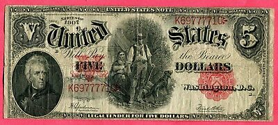 Docs $5.00 Woodchopper Note Series of 1907- Nice Intact Example + Free Shipping!