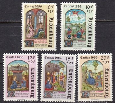 Luxembourg #b357-B361 Mnh Christmas Issue 1986