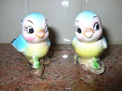 Vintage Bluebirds Blue Birds Salt & Pepper Shakers Anthropomorphic Adorable
