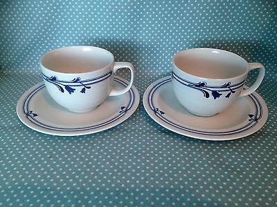 2 vintage Adams Pottery Bluebell design duos. Cups & saucers.