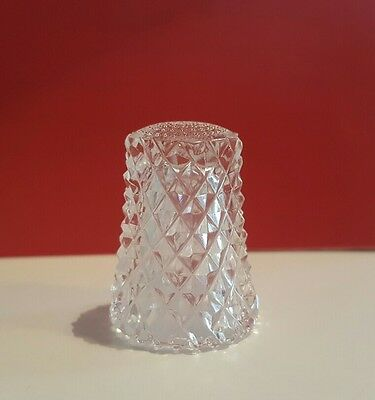 Beautiful Vintage Cut Crystal Clear Glass Thimble