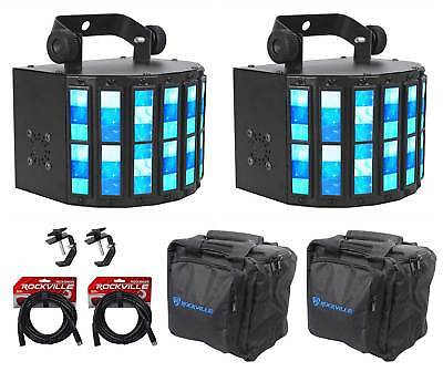 2 FARENHEIT FH-210 Derby DMX RGBW DJ Club Stage Effect Lights+Cables+Clamps+Bags