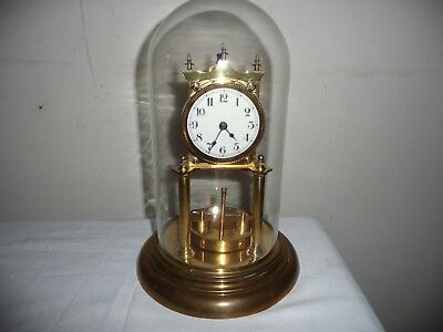 Juf Standard Early Anniversary Clock in Glass Dome, Dated 1921,For Restoration.