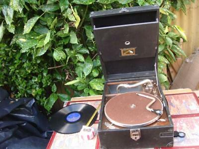 Vintage Portable  HMV  / HIS MASTER'S VOICE Gramophone Model 101 With SONGSTER