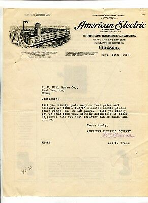 Illustrated Letterhead AMERICAN ELECTRIC TELEPHONE APPARATUS Chicago 1918 2sided