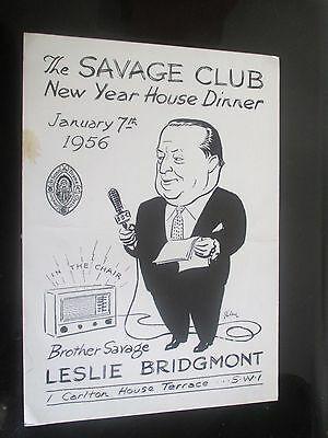 1956 Savage Club House New Year House Dinner Card Harry Riley Leslie Bridgmont