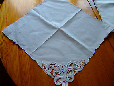 "SET of TWELVE White Cotton Table Napkins.Lace Corner.16""square.NEW & UNUSED."