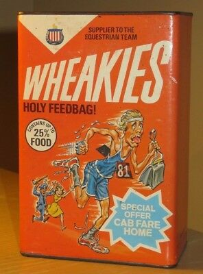 """VINTAGE 1981 Spoof Funny Cereal Box Bank WHEAKIES w Purse Snatching Runner 8"""""""