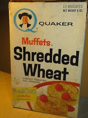 Vintage CEREAL BOX Quaker MUFFETS SHREDDED WHEAT Probably early 60's